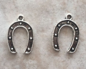 15.5x11.5x1mm Alloy Metal Horseshoe Charms in Antique Silver Color (ch11)