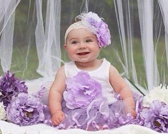 Lavender headband, white headband, feather headband, big headband, lavender Flower girl headband,Birthday Headband,purple and White Headband