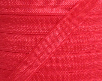 Red Fold Over Elastic - Elastic For Baby Headbands and Hair Ties - 10 Yards of 3/8 inch FOE