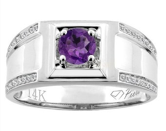 "14K White Gold Natural Amethyst Men's Ring, Diamond Accented, 3/8"" wide, Sizes 9 - 14"