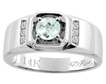 "14K White Gold Natural Aquamarine Men's Ring, Diamond Accented, 5/16"" wide, Sizes 9 - 14"