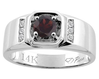 "14K White Gold Natural Garnet Men's Ring, Diamond Accented, 5/16"" wide, Sizes 9 - 14"