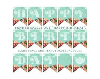 HAPPY BIRTHDAY banner, Shabby style birthday banner, Printable birthday banner, aqua lace birthday banner, vintage look banner, antique