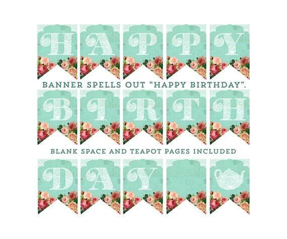 Printable Vintage Birthday Banner ~ Items similar to happy birthday banner shabby style