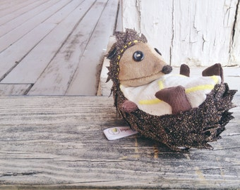 Stuffed Hedgehog Plush, KENNEDY, Handmade Whimsical Soft Sculpture Hedgehog, Hedgehog Doll