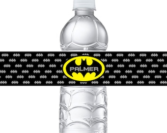 Personalized Batman Water Bottle Labels