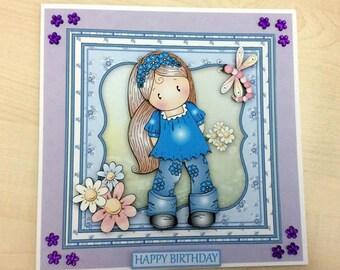 Child's Birthday Card * Blue Birthday Card * Girl's Birthday Card * Purple  Card * Birthday Card * Handmade Card * Floral Birthday Card *