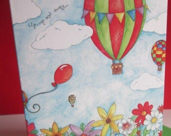 Hot Air Balloon, A6 printed greeting card, blank greeting card, birthday, note, flowers