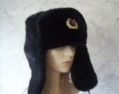 Russian Military Soft Plush Faux Fur Hat