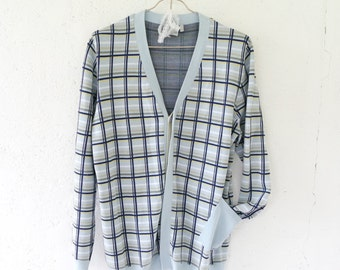 Vintage 90s Blue Checked Cardigan // Men Cardigan // Button Up Cardigan // Scandinavian Cardigan // Cardigan Size Large L