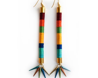 Colorful Tribal Earrings, Statement Rope Earrings, Fiber Cord Earrings, Tube Spike Earrings, African Inspired Earrings