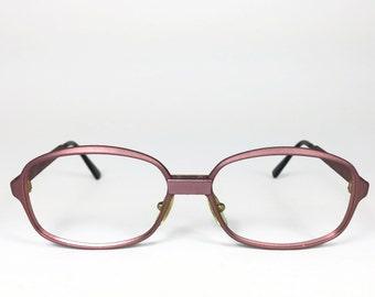 70s Vintage Eyeglasses | 1970s Matte Purple Round Glasses | NOS Eyeglass Frame | Deadstock Eyewear - L4
