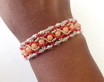 Red Aventurine Bracelet With Crystal Edging, Teen Jewelry, Hand Beaded Bracelet, Tennis Bracelet, Crystal Bracelet, Statement Bracelet
