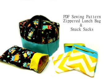 Perfect Kid's Lunch Bag PDF Sewing Pattern -Plus Bonus Pattern for Waste Free Fold Over Snack Sacks - 4 Sizes Reusable Snack Bags