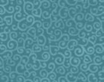 Benartex - Family Forever. - Design #4556 - Tonal Hearts and Swirls in Teal - Cotton Woven Fabric