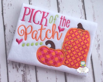 Girl Pick of the Patch Pumpkin Shirt or Bodysuit, Girl Pumpkin Shirt, Pumpkin Shirt, Fall Pumpkin Shirt, Pumpkin Patch Shirt