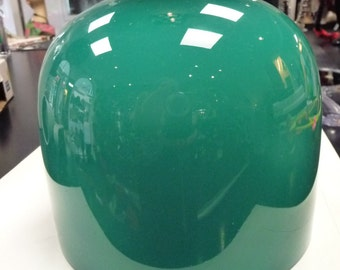 ANTIQUE green OPALIN lampshade - the real McCoy. Czech. Authentic old glass.