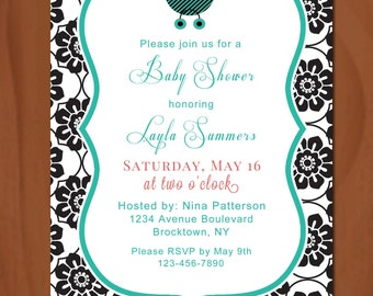 Baby Shower Invitation ~ Printable ~ Black & White ~ Baby Carriage ~ Floral Damask