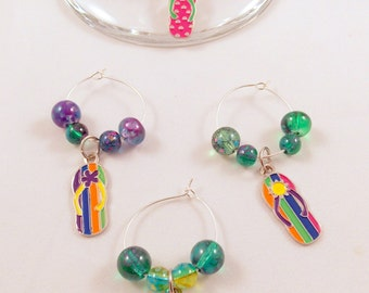 Wine Glass Charms Set Of 4 Flip Flops Hand Crafted