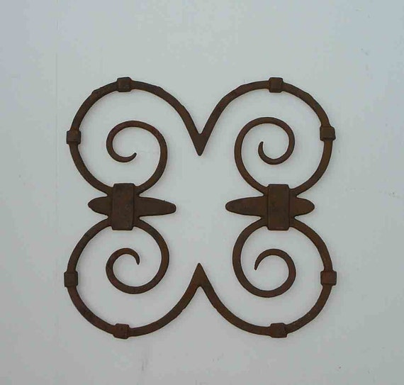 Rustic Scroll Design: Vintage Rustic Wrought Iron Scroll Set Of Four Salvage