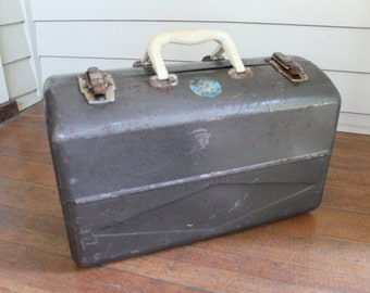 Large Vintage Grey / Gray Metal Box - Tool or Tackle Box (Union Chest)