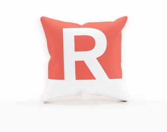 Red and White Pillow, White Monogram Pillow, Red Pillow Cover, Decorative Throw Pillows, Throw Pillows Red, Throw Pillows Modern, Monogram,