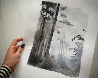 A forest #2, watercolor print