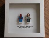 Spiderman Wall Art - Superhero Spiderman & Mary Jane Watson - Couple Wedding GIft - LEGO Minifigure Display - Wood Display Frame - LEGO Art