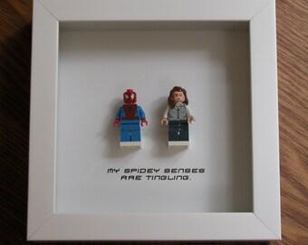 Superhero Art - Spiderman Wall Art - Spiderman & Mary Jane Watson - Couple Wedding - LEGO Minifigure Display - Wood Display Frame - LEGO Art