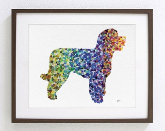 Portuguese Water Dog Watercolor Painting - 8x10 Archival Print - Dog Art Print - Colourful Geometric Dog Silhouette Art - Wall Decor