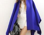 Blue hooded cloak, wool mantel, wool cape coat, women wool poncho