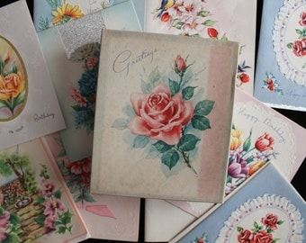 Vintage Box Set of 10 Birthday Greeting Cards, Assorted, Collectable, R.R.H.