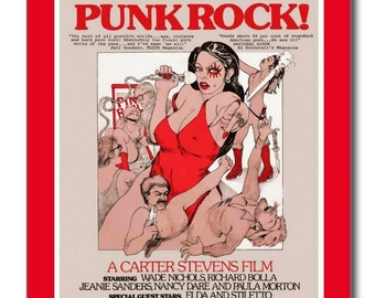 Punk Rock Adult Film Rated X Poster Movie REPRO Vintage Postcard