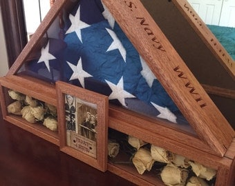 Flag Case with shadowbox and magnetic picture frame.