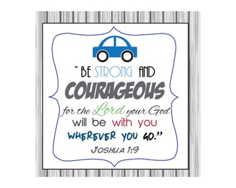 Boy nursery bible verse decor, baby boy wall art, Be strong and courageous...