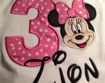 Minnie Mouse Pink Birthday Shirt/onesie