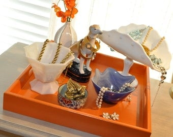 "Ready to Ship! 18"" Square Large Ottoman Tray - Hermes Orange"