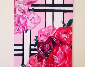 Floral & stripe painting