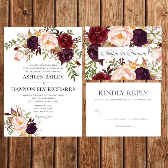 Fall Color Wedding Invitations: Bohemian Wedding Invitation Fall Wedding Invite By