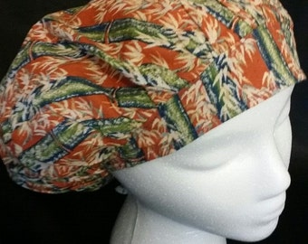 Burnt Orange Bamboo Forest Bouffant Surgical Scrub Hat With Banded Front & Toggled Back