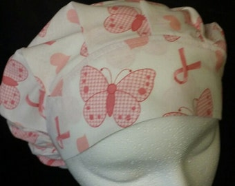 Breast Cancer Ribbon Pink Butterflies Butterfly Bouffant Surgical Scrub Hat