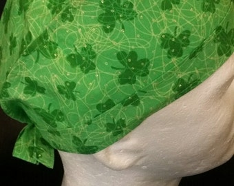 St. Patrick's Day Clover Green Shamrocks Tie Back Surgical Scrub Hat