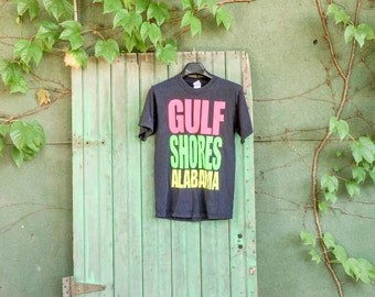 Gulf Shores Alabama Neon Graphic Vintage T-Shirt -