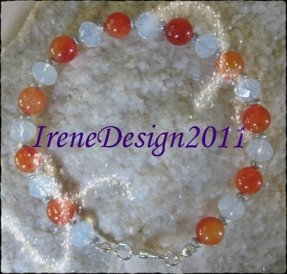 Handmade Silver Bracelet with Orange Topaz & Facetted White Opal by IreneDesign2011