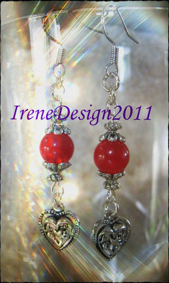 Handmade Silver Earrings with Red Jade & Heart by IreneDesign2011