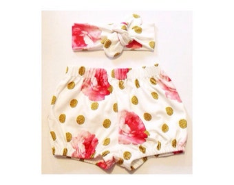 Roses and Dots organic bloomers/knot headband