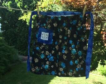 Vintage Half Apron With Blue Flowers, Black Background