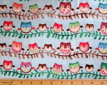 Per Yard, Friendly Forest Fabric Owl Blue From SPX