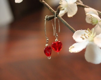 Red Swarovski Heart Earrings
