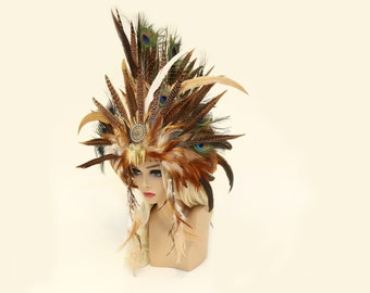Headdress/MADE-TO-ORDER-Feather Mohawk/ Feather Headdress/ Burning Man Headdress/ Goddess Headdress/ Tribal Headdress/ Bridal Headdress